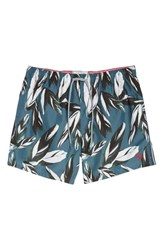 Ted Baker London Bury Leaf Print Swim Shorts Teal