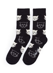 Happy Socks Cat Black