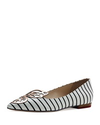 Sophia Webster Bibi Nautical Striped Skimmer Black White Black White