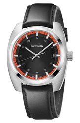 Calvin Klein Achieve Leather Band Watch 43Mm Black Red Silver