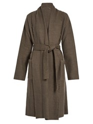 Denis Colomb Raw Edge Cashmere And Camel Blend Coat Grey