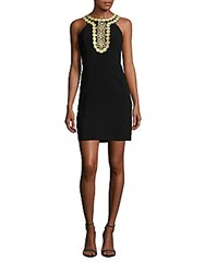 Taylor Embellished Halter Sheath Dress Black
