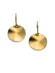 Ippolita Glamazon Sculptural Metal 18K Yellow Gold Mini Wavy Disc Drop Earrings