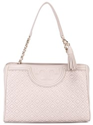Tory Burch Double Handles Embossed Tote Pink Purple