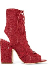 Laurence Dacade Nelly Leather Trimmed Lace Sandals Claret
