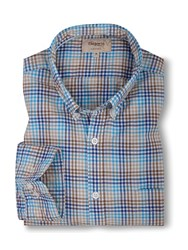T.M.Lewin Gingham Check Casual Long Sleeve Shirt Blue