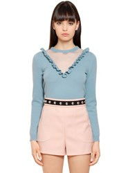 Red Valentino Wool Knit Sweater W Ruffle