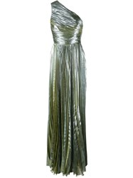 Maria Lucia Hohan Metallic One Shoulder Gown Green