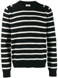 Saint Laurent Crew Neck Striped Sweater Black