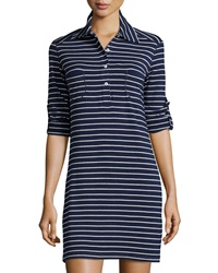 Max Studio Striped Rolled Sleeve Shirtdress Dark Navy Ivory
