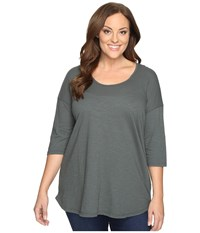 Allen Allen Plus Size Elbow Sleeve Tee W High Low Cilantro Women's T Shirt Green