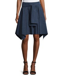 Halston Mini Flounce Skirt W Sash Dark Denim