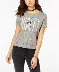 Mighty Fine Juniors' Mickey Mouse Star Graphic Boyfriend T Shirt Heather Grey