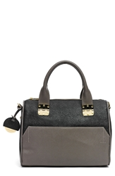Hayden 'Sandrine' Saffiano Leather Satchel Black Fog