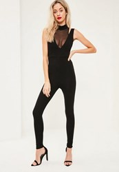 Missguided Black Mesh Insert High Neck Jumpsuit