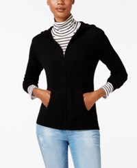 Charter Club Cashmere Zip Front Hoodie Only At Macy's Classic Black