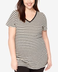 Motherhood Maternity Plus Size Striped Ruched Tee Oat Black Striped