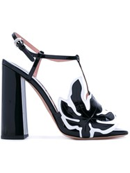 Rochas Leaf Patch Heeled Sandals Women Leather Nappa Leather 37.5 Black