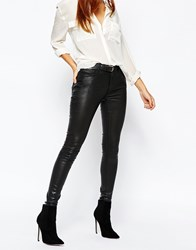 Warehouse Leather Look Coated Jeans Black