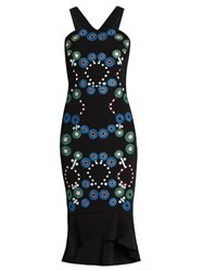 Peter Pilotto Geometric Embroidered Cady Dress Black Multi