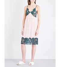 Maison Martin Margiela Mm6 Floral Lace And Technical Woven Slip Dress Baby Pink