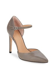 Halston Leather D'orsay Pumps Gunmetal
