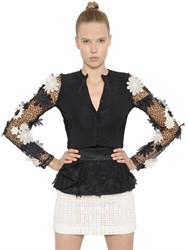 Emanuel Ungaro Flower Appliques Mesh And Knit Sweater