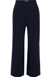 Elie Tahari Woman Faye Cropped Belted Crepe Straight Leg Pants Midnight Blue