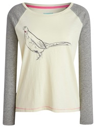 Joules Susie Peacock Jersey Top Ivory Grey