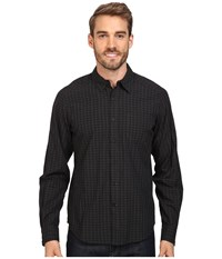 Nau Parallelogram Long Sleeve Shirt Caviar Plaid Men's Long Sleeve Button Up Gray