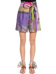 Etro Patchwork Printed Silk Twill Shorts Multicolor