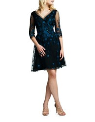 Kay Unger Embroidered Tulle Fit And Flare Cocktail Dress Black Multi