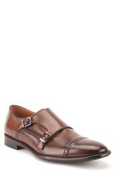 Gordon Rush Corbett Cap Toe Double Strap Monk Shoe Cognac Leather