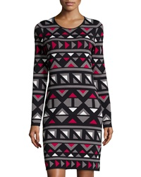 Paperwhite Geometric Print Long Sleeve Sweaterdress Black Red Gray