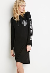 Forever 21 1995 Hooded Dress Black White