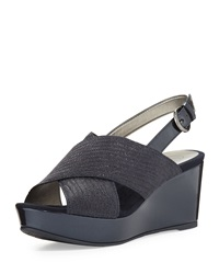 Circa Joan And David Wandy Embossed Lizard Wedge Sandal Navy
