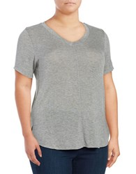 B Collection By Bobeau Plus Short Sleeve Hi Lo Jersey Knit Top Grey