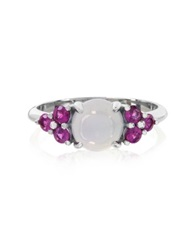 Mia And Beverly Chalcedony And Fuchsia Sapphires 18K White Gold Ring Light Blue