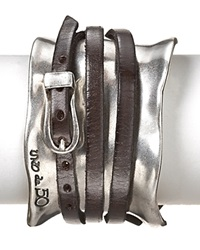 Uno De 50 Ibiza Wrap Cuff Silver Leather