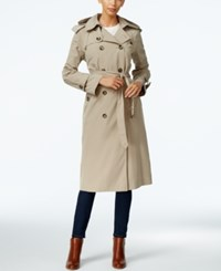 London Fog Hooded Double Breasted Long Trench Coat Only At Macy's Khaki
