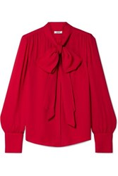 Jason Wu Pussy Bow Crepe Blouse Red