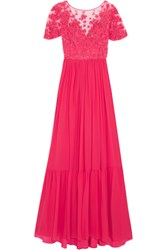 Zuhair Murad Embellished Embroidered Silk Blend Tulle And Georgette Gown Pink