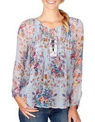 Lucky Brand Floral Sheer Blouse Blue Multi