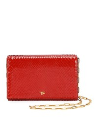 Tom Ford Python Flap Wallet On A Chain Red
