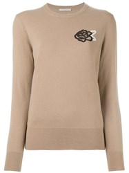 Christopher Kane Floral Sequin Jumper Nude And Neutrals