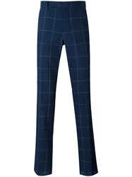 Paul Smith Checked Trousers Men Cotton Polyester Wool 32 Blue