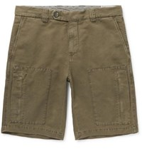 Brunello Cucinelli Linen And Cotton Blend Cargo Shorts Army Green