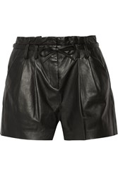 Milly Lola Paperbag Leather Shorts Black