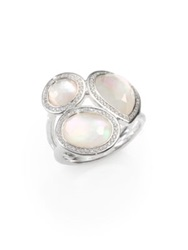 Ippolita Stella Mother Of Pearl Clear Quartz Diamond And Sterling Silver Doublet Cluster Ring Silver Pearl
