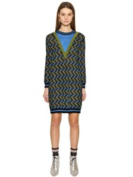 M Missoni Cotton Viscose Blend Jacquard Knit Dress